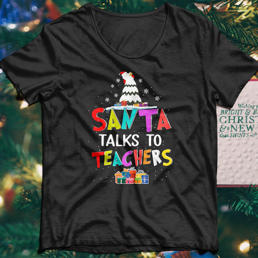 Christmas Santa talks to teachers shirt