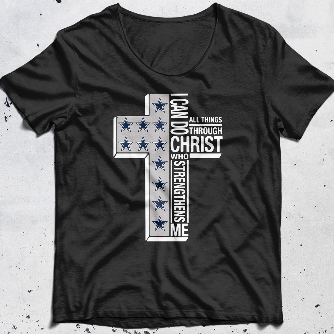 Dallas Cowboys I can do all things through Christ who strengthens me cross shirt