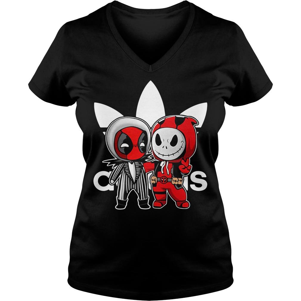 Deadpool and Jack Skellington Adidas V-neck T-shirt