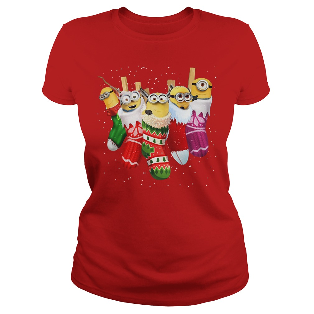 Despicable Me Minion in socks Christmas Ladies tee