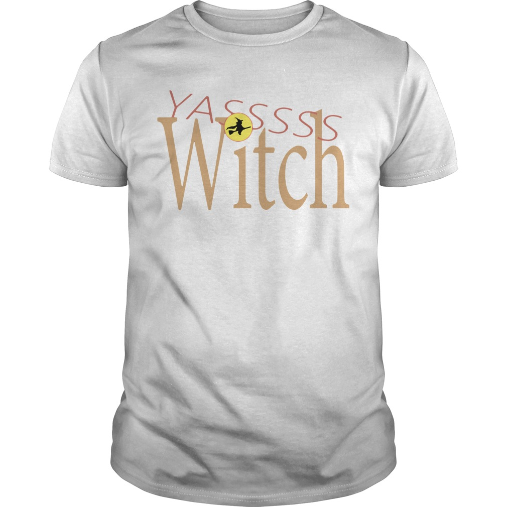 Funny Yasss Witch Queen Flying Broom Guys shirt