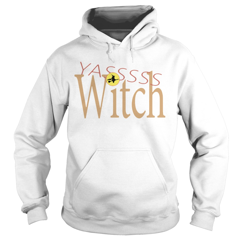 Funny Yasss Witch Queen Flying Broom Hoodie