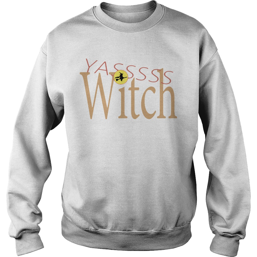 Funny Yasss Witch Queen Flying Broom Sweater