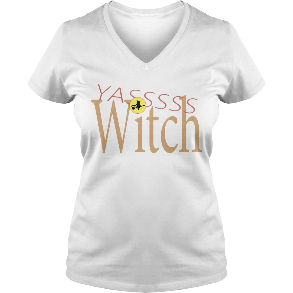 Funny Yasss Witch Queen Flying Broom V-neck T-shirt