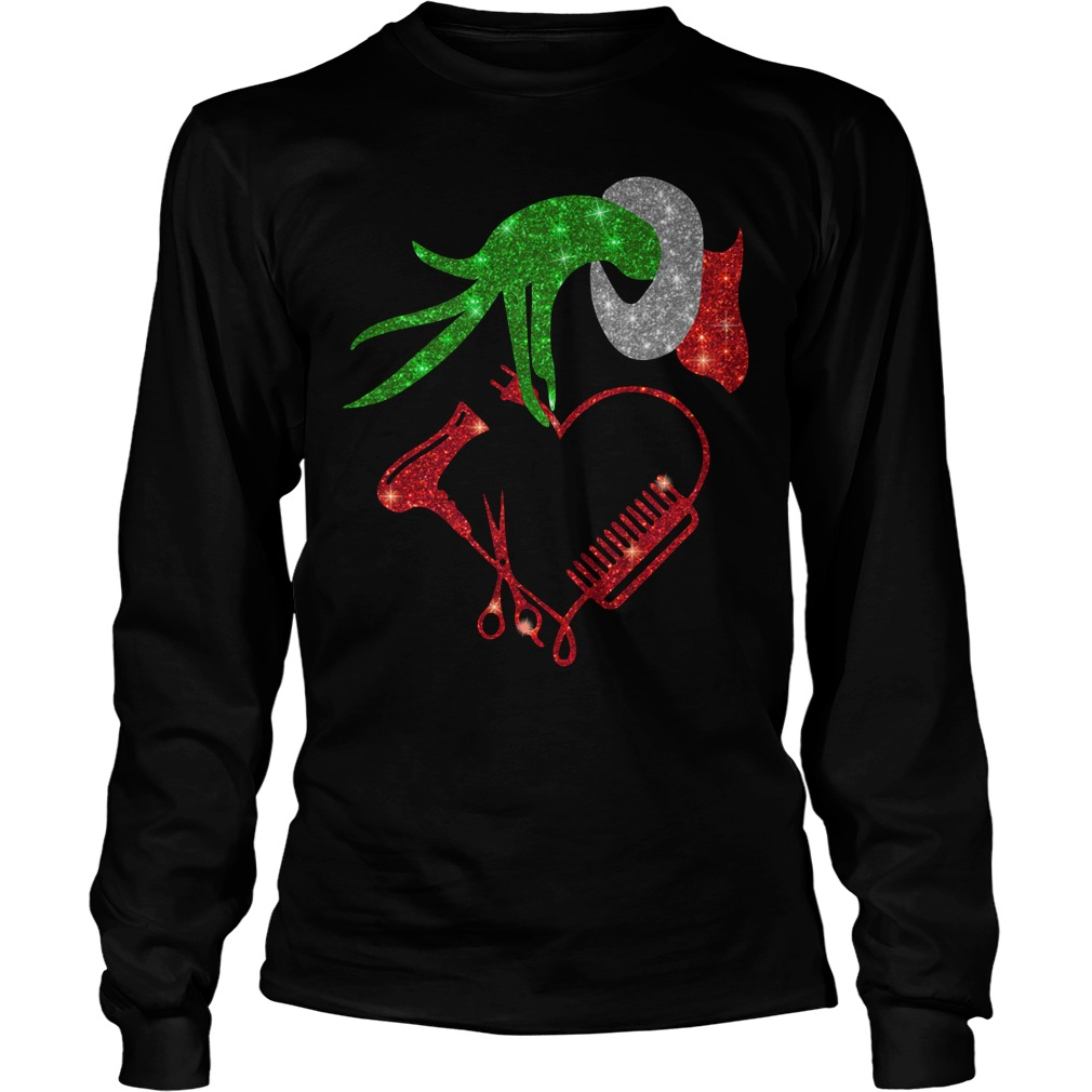 Grinch hand holding hair stylish Longsleeve tee