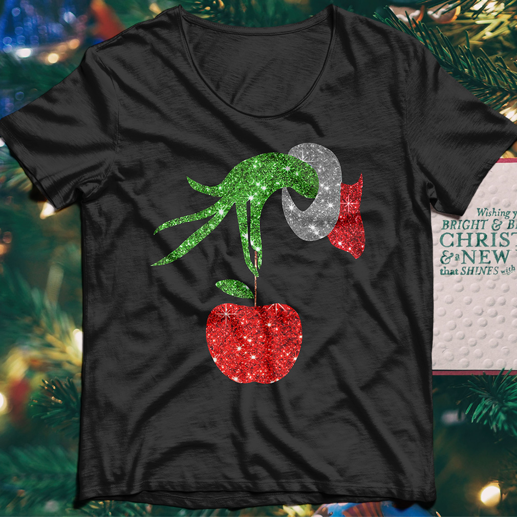 Grinch Hand Holds apples shirt