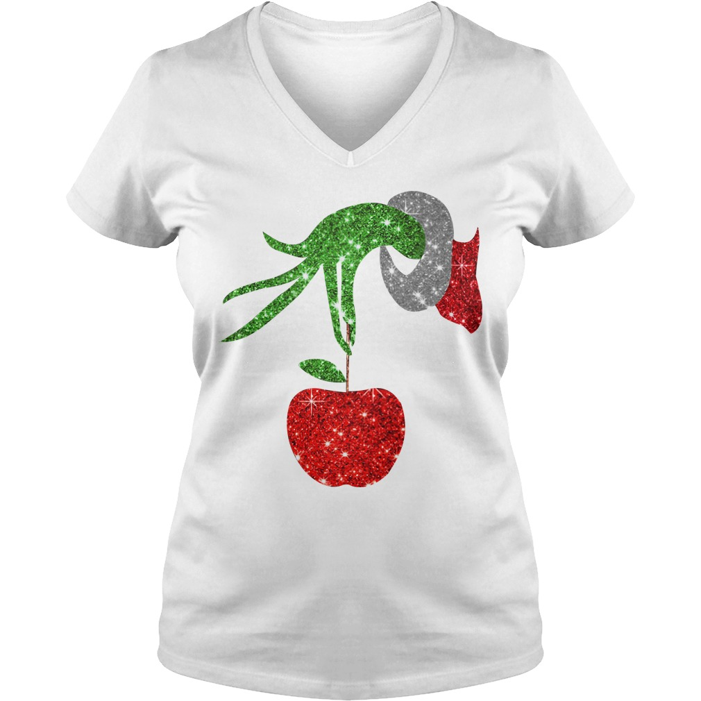 Grinch Hand Holds apples V-neck T-shirt