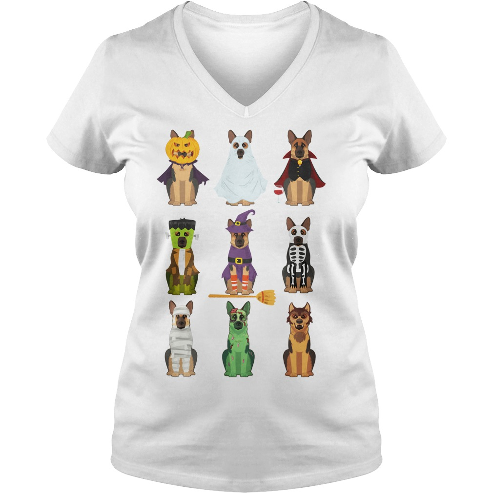 Halloween All German Shepherd lovers V-neck T-shirt