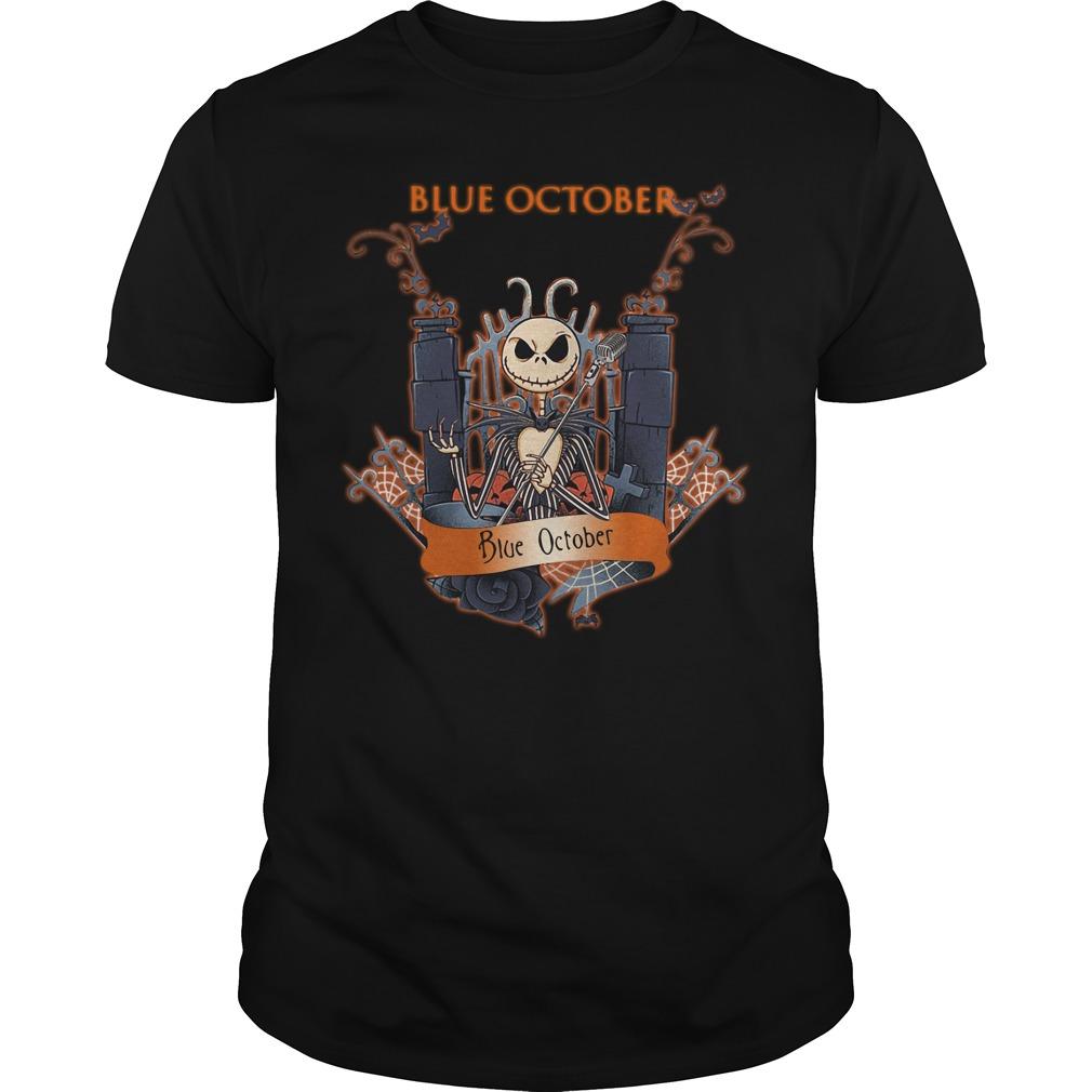Halloween Jack Skellington blue october Guys shirt