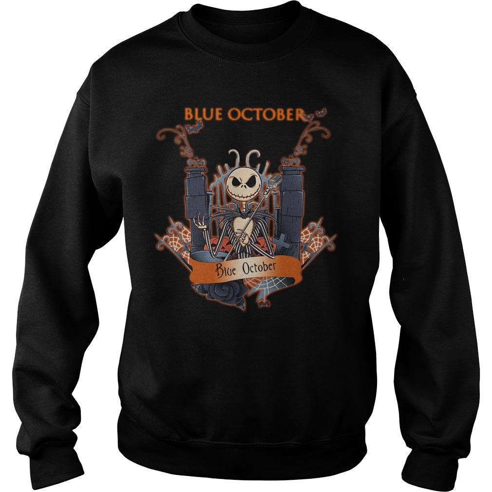Halloween Jack Skellington blue october Sweater