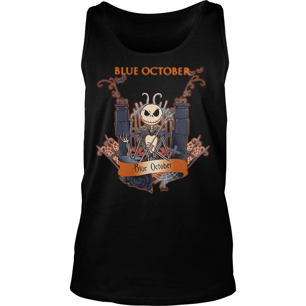 Halloween Jack Skellington blue october Tank top