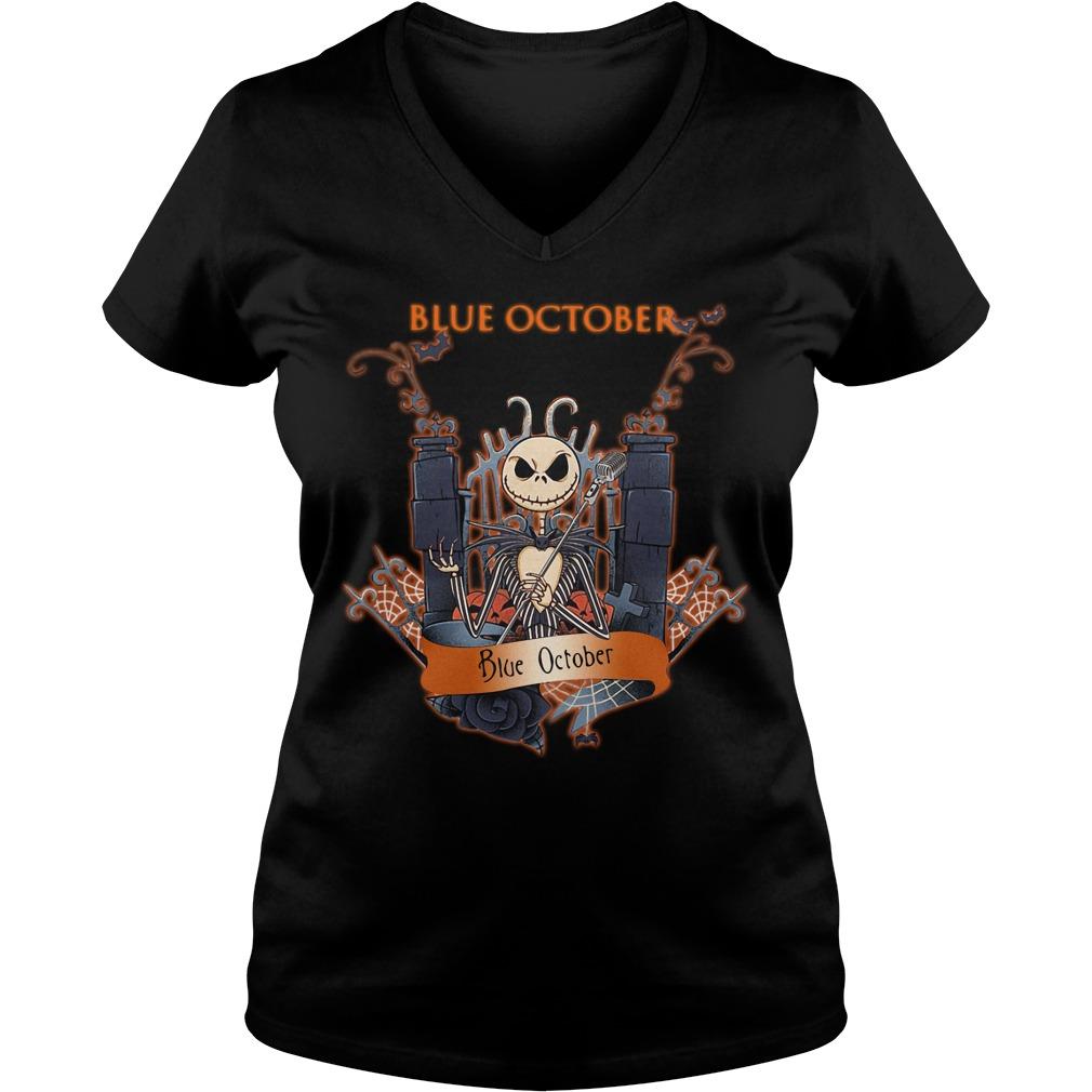 Halloween Jack Skellington blue october V-neck T-shirt