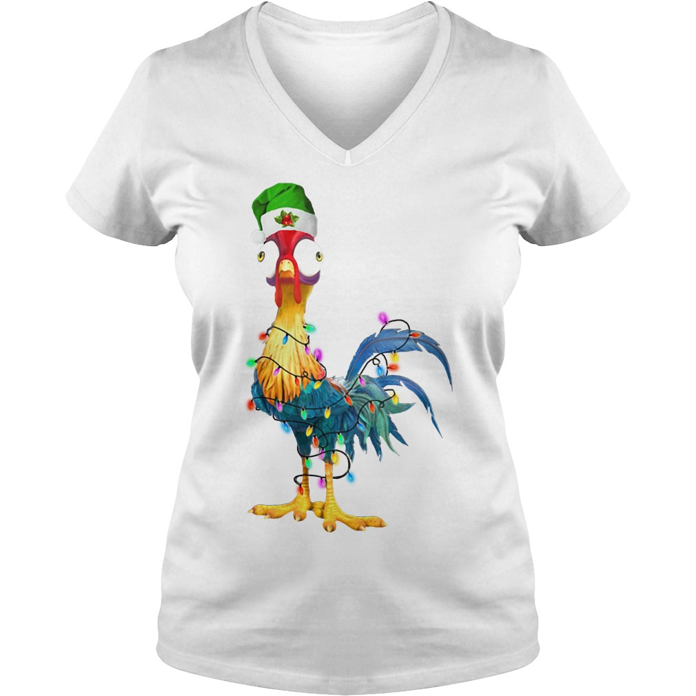 Hei Hei Chicken light Christmas V-neck T-shirt