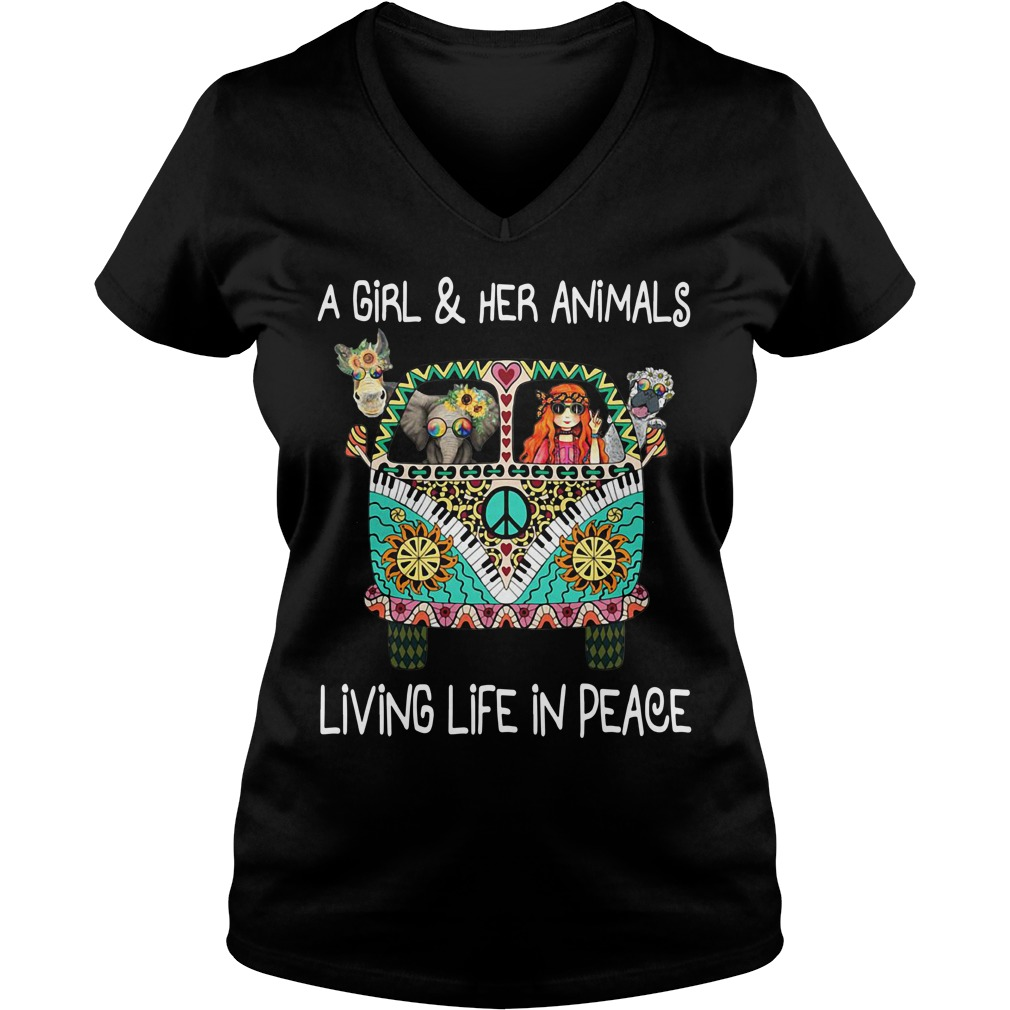 Hippie car A girl and her animals living life in peace V-neck T-shirt