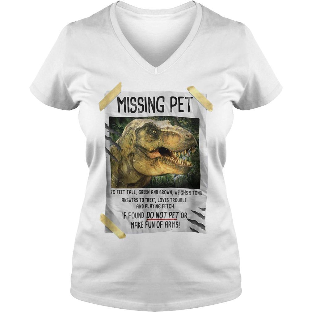 Jurassic park Missing pet V-neck T-shirt