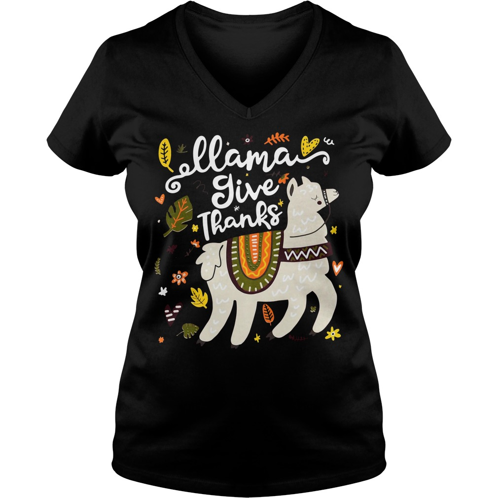 Llama give thanks V-neck T-shirt