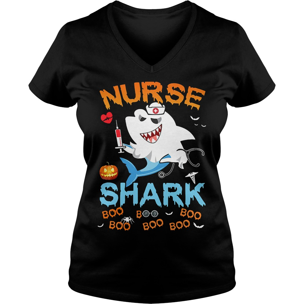 Official Halloween Nurse Shark Boo Boo Boo Boo V-neck T-shirt