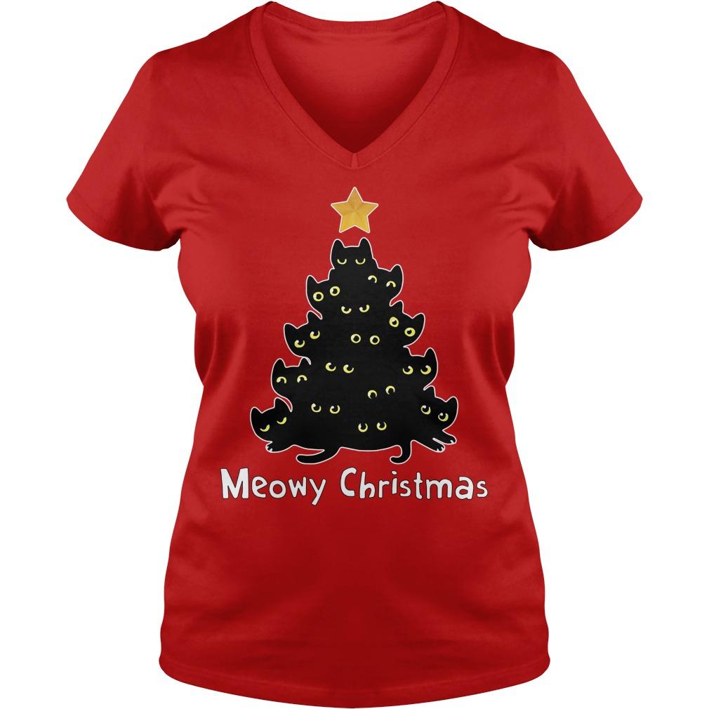 Official Meowy Christmas V-neck T-shirt