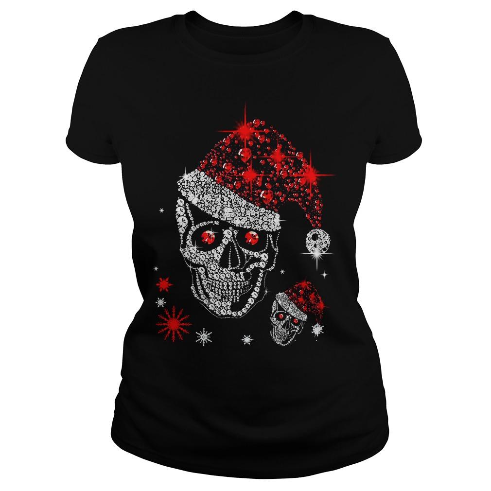 Official Skull Rhinestone Christmas Ladies tee