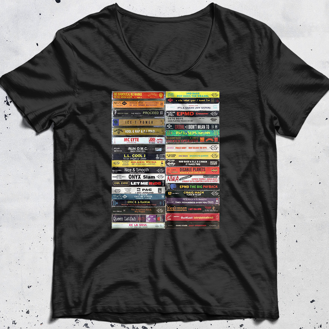 Old school hip hop cassette tape shirt