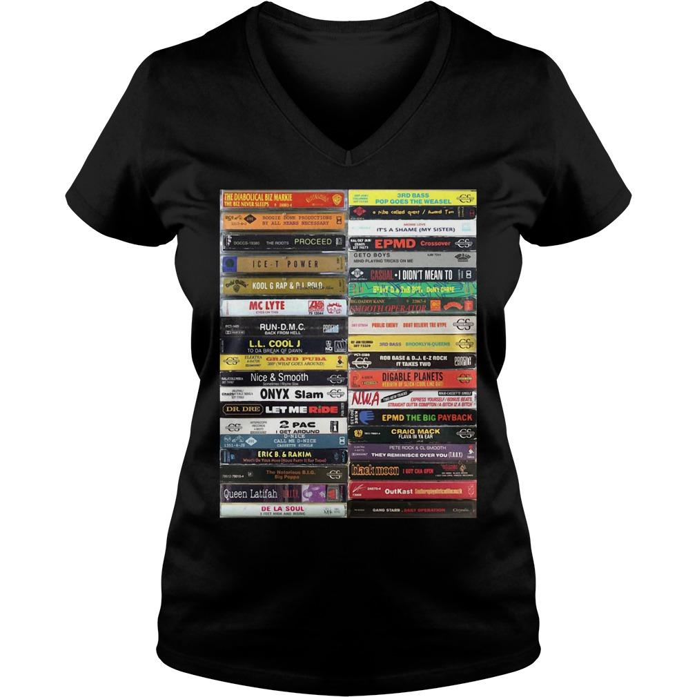 Old school hip hop cassette tape V-neck T-shirt