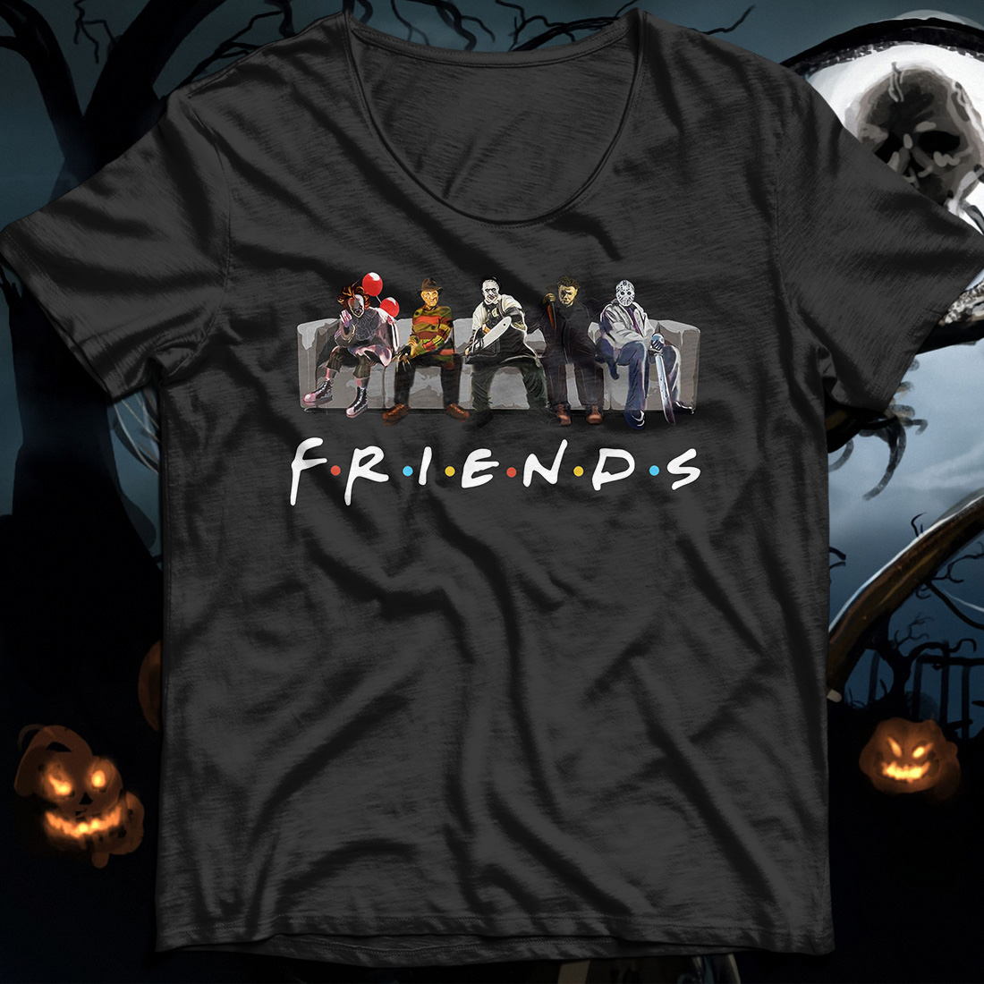 Pennywise IT Leatherface Krueger Jason Voorhees Myers friends shirt