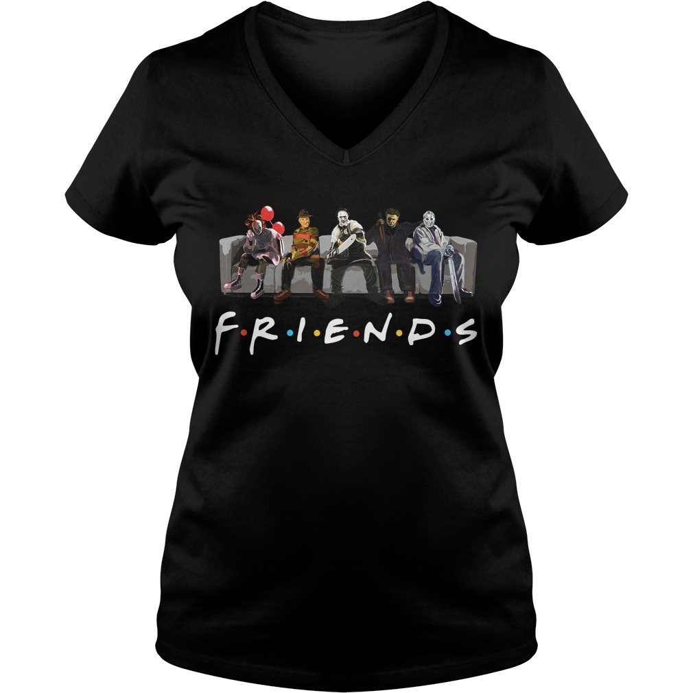 Pennywise IT Leatherface Krueger Jason Voorhees Myers friends V-neck T-shirt
