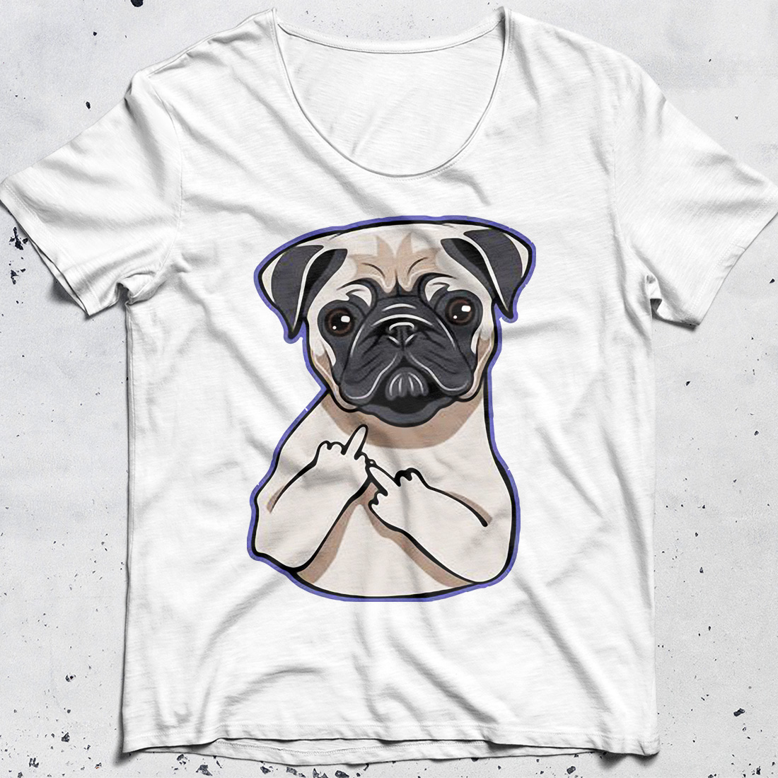 Pug Middle Fingers Up shirt