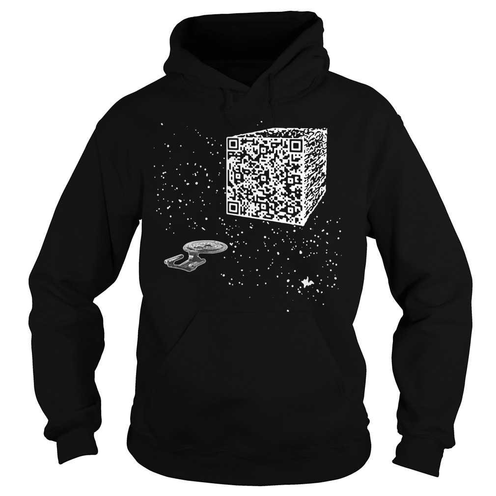 QR Code Cube We are the borg Hoodie