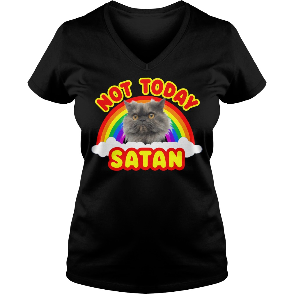 Rainbow Cat Death Metal not today Satan V-neck T-shirt