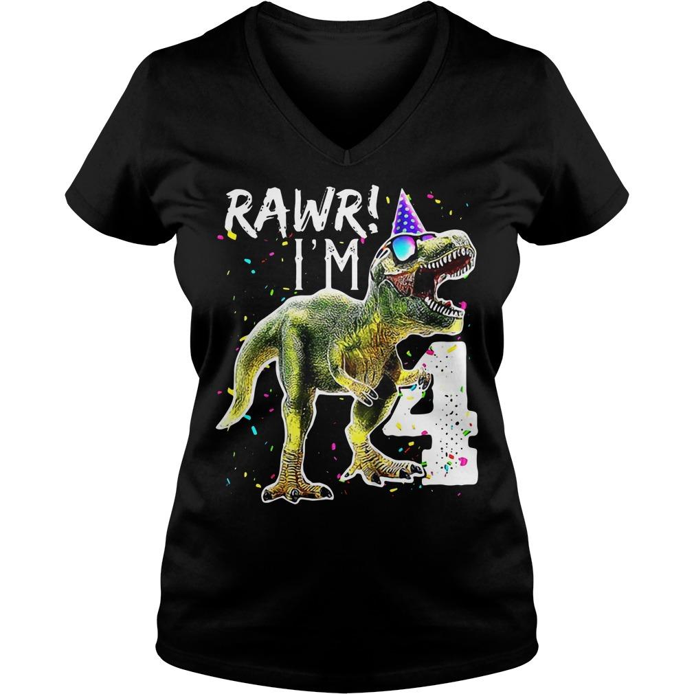 Rawr I m 4 Funny Dinosaur Birthday V-neck T-shirt