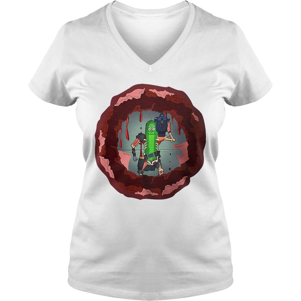 Rick and morty hole in the wall V-neck T-shirt
