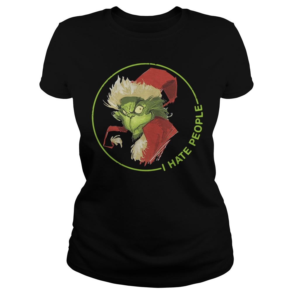 Santa Grinch I Hate People Christmas V-neck T-shirt