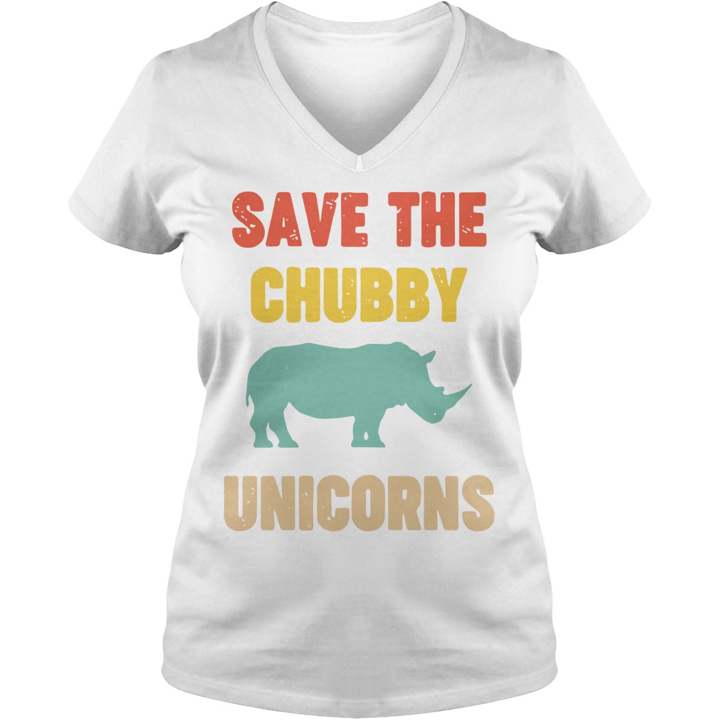 Save The Chubby Unicorn V-neck T-shirt