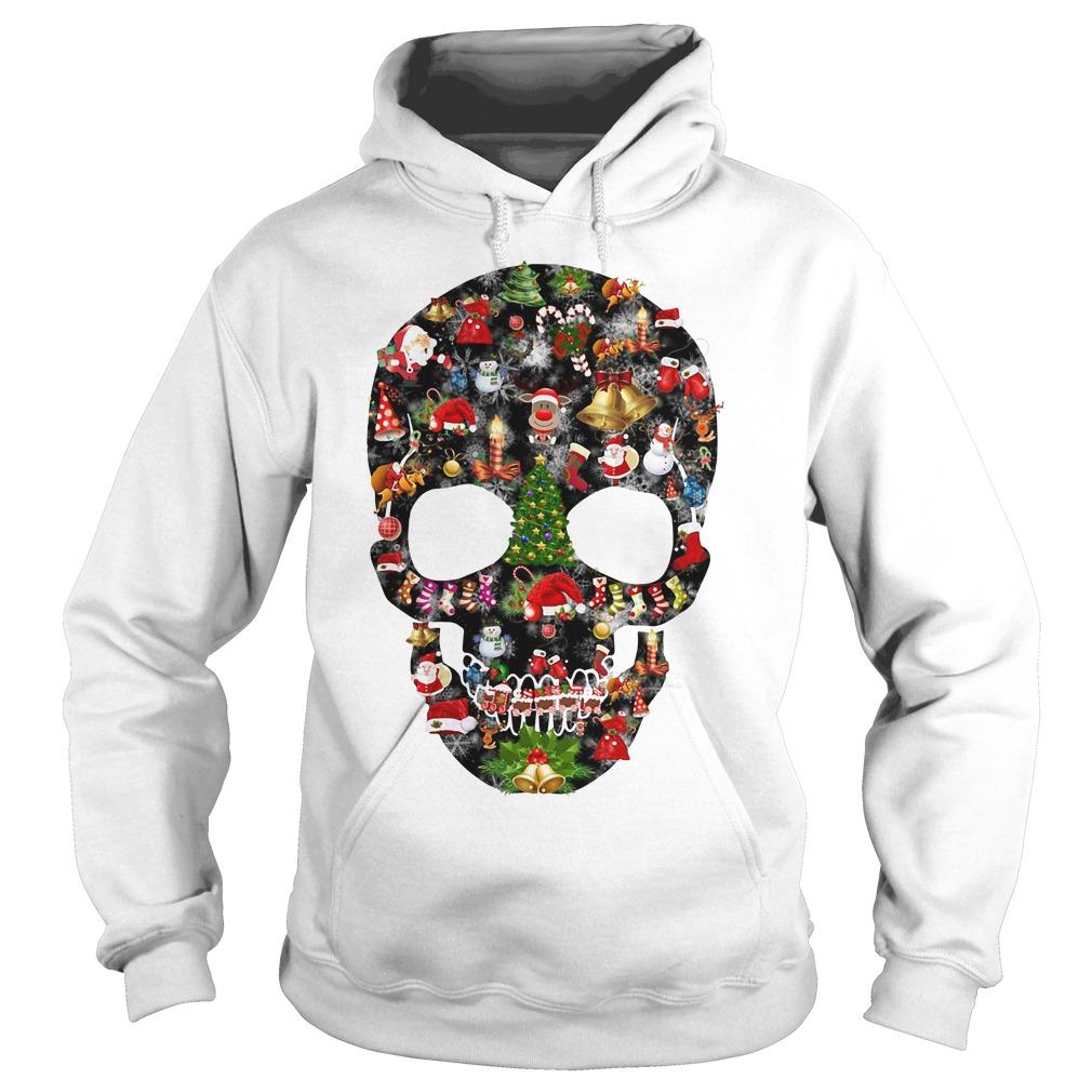 Skull print merry Christmas Hoodie