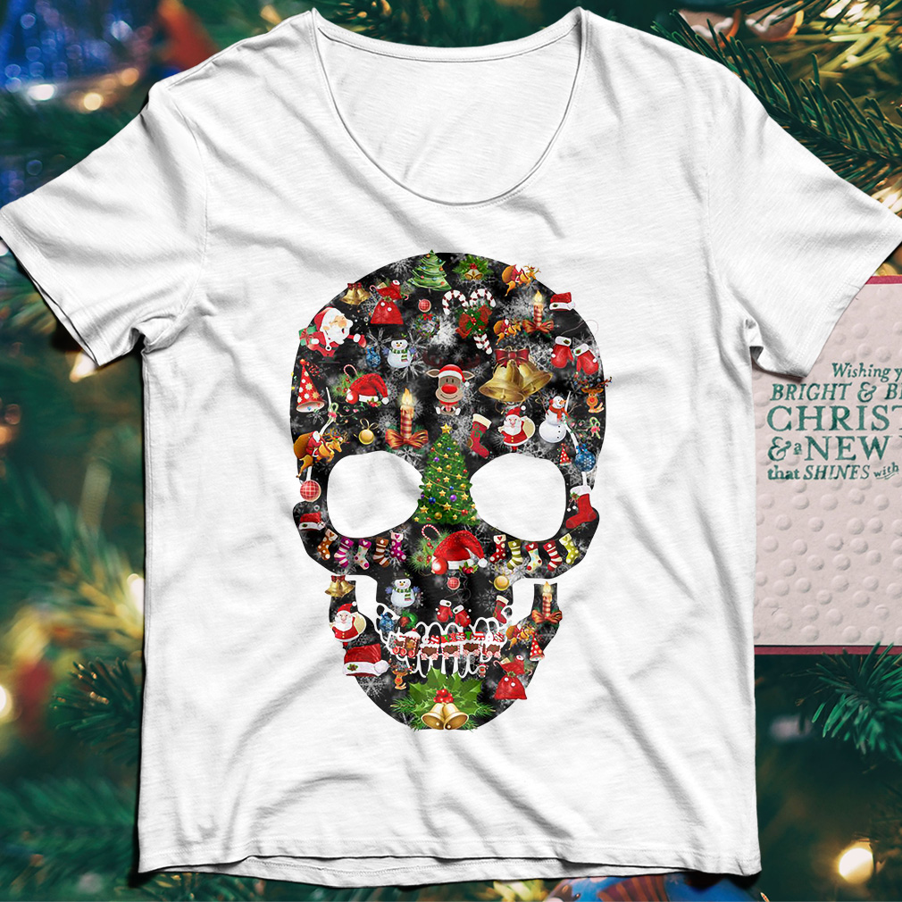 Skull print merry Christmas shirt