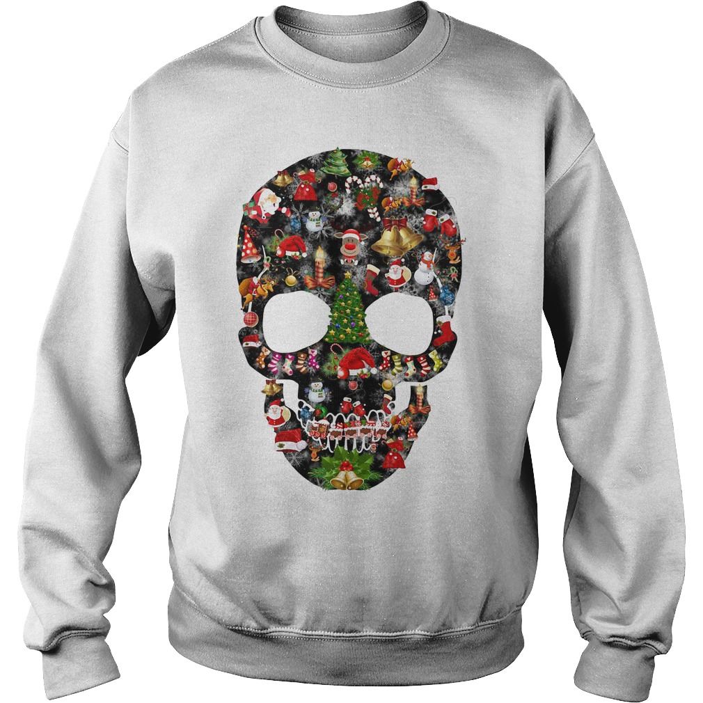 Skull print merry Christmas Sweater