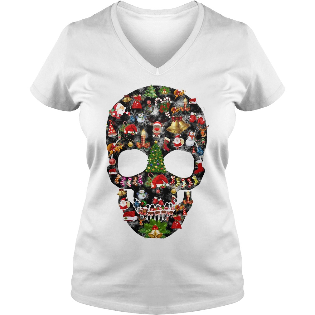 Skull print merry Christmas V-nekc T-shirt