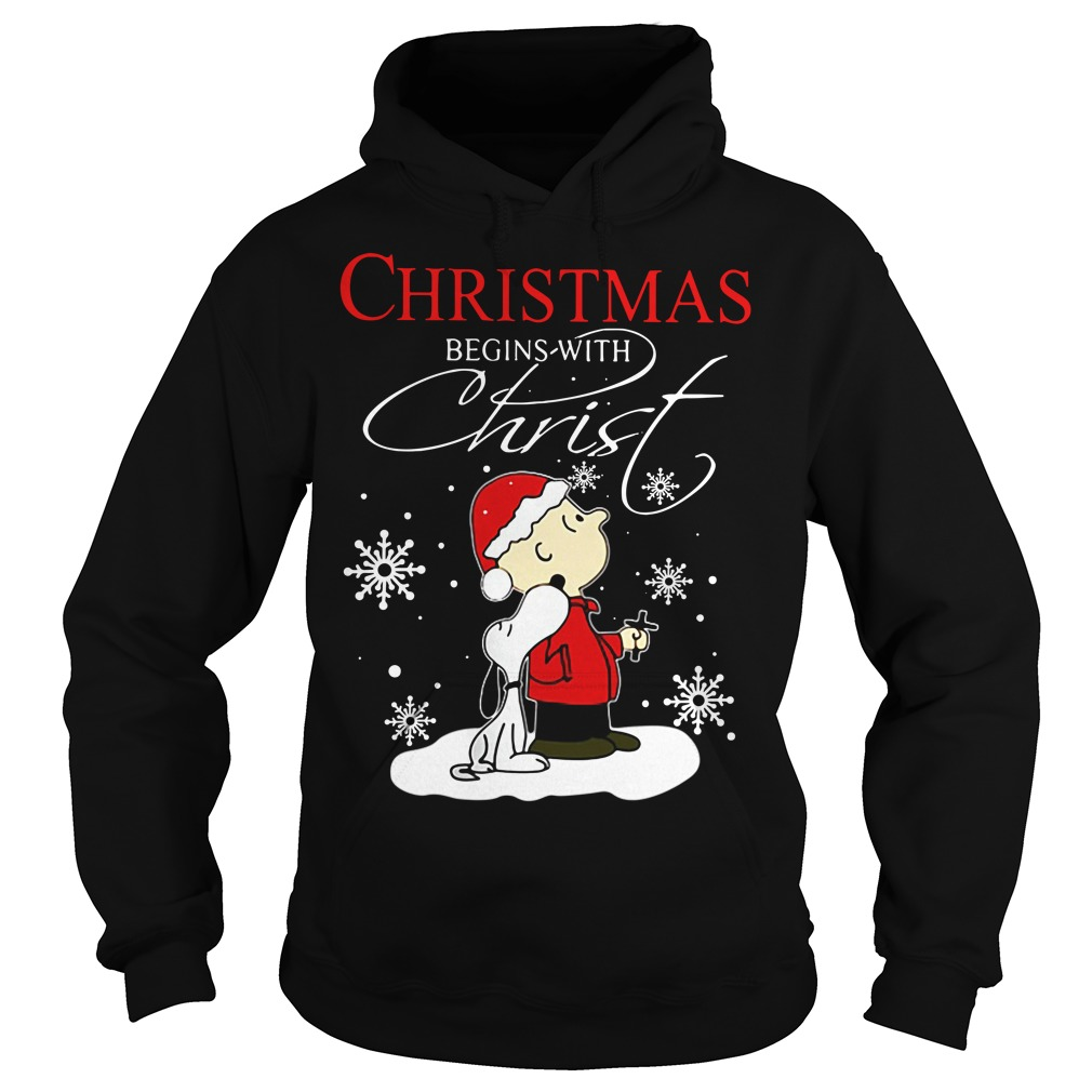 Snoopy and Charlie Christmas begin with Christ Hoodie
