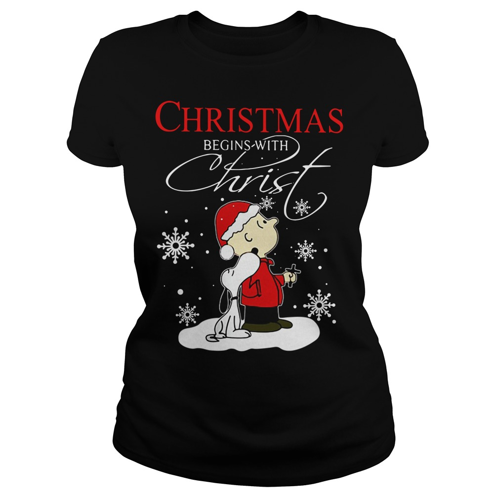 Snoopy and Charlie Christmas begin with Christ Ladies tee