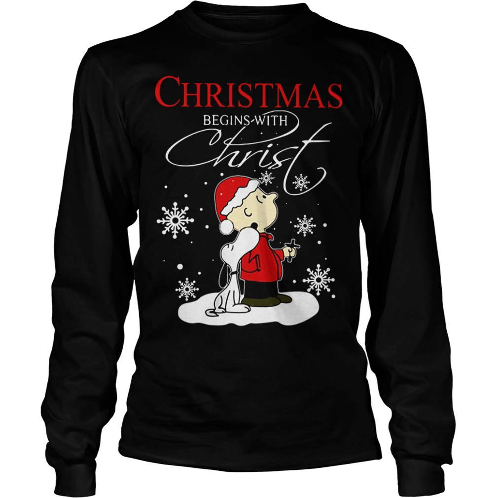 Snoopy and Charlie Christmas begin with Christ Longsleeve tee