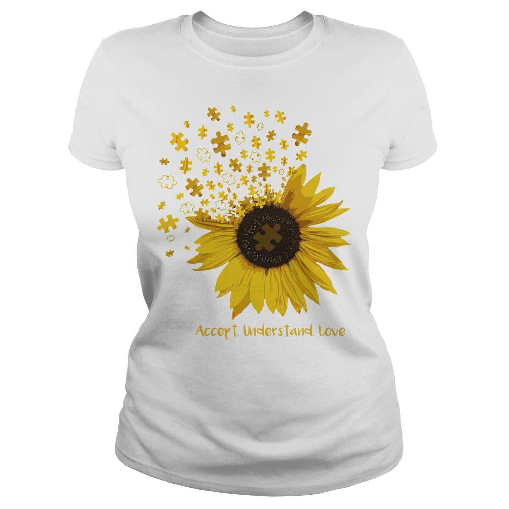 Sunflower Autism Accept understand love Ladies tee