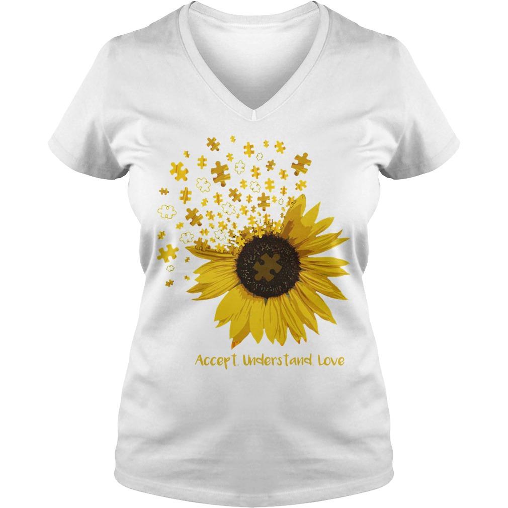 Sunflower Autism Accept understand love V-neck T-shirt