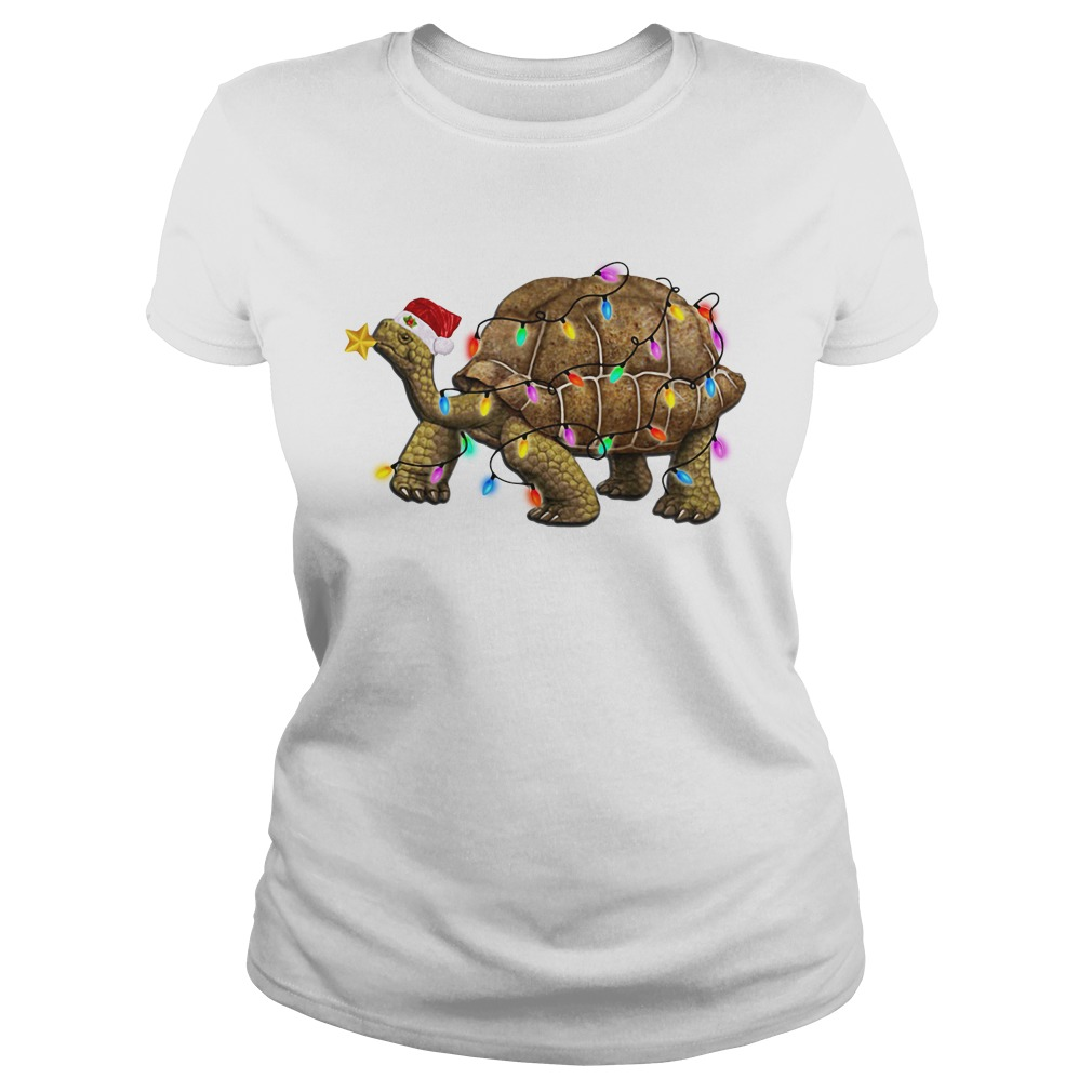 Turtles Satan light Christmas V-neck T-shirt