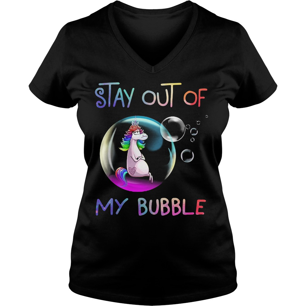 Unicorn stay out of my bubble V-neck T-shirt