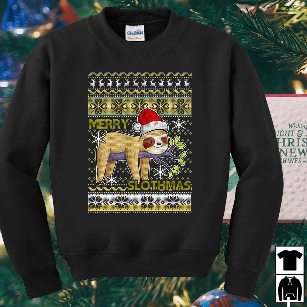Santa Sloth merry slothmas ugly Christmas sweater