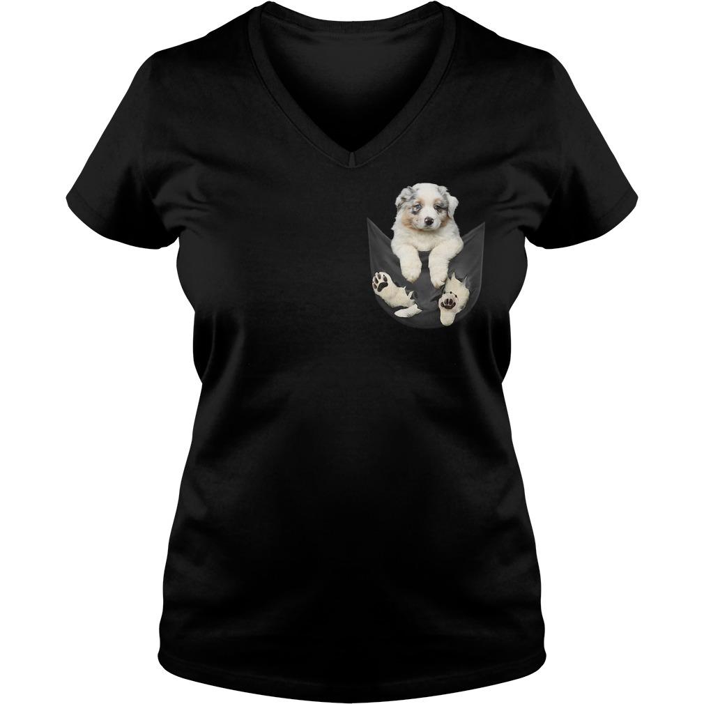 Australian Shepherd in a pocket V-neck T-shirt