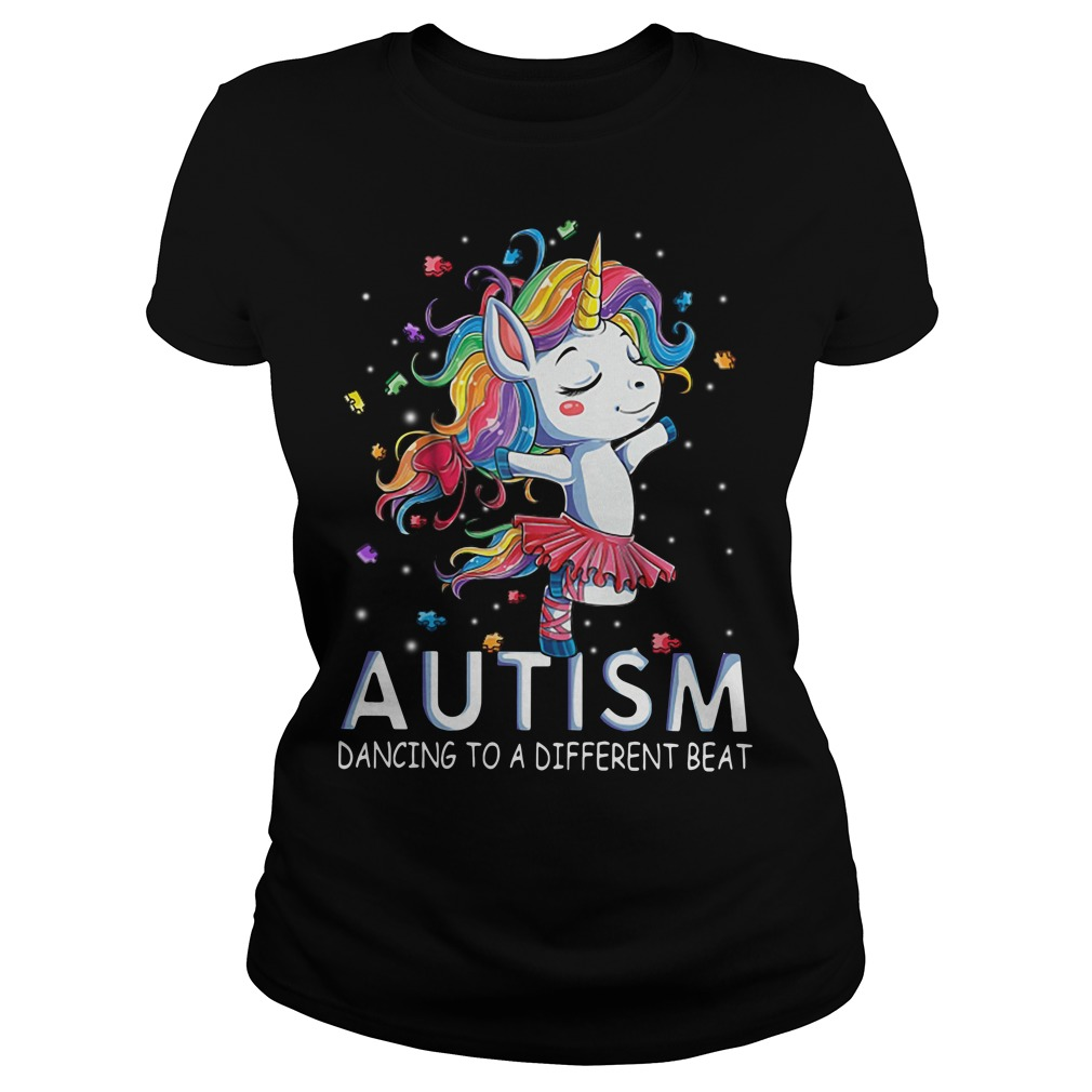 Autism Unicorn ballet dancing to a different beat Ladies Tee