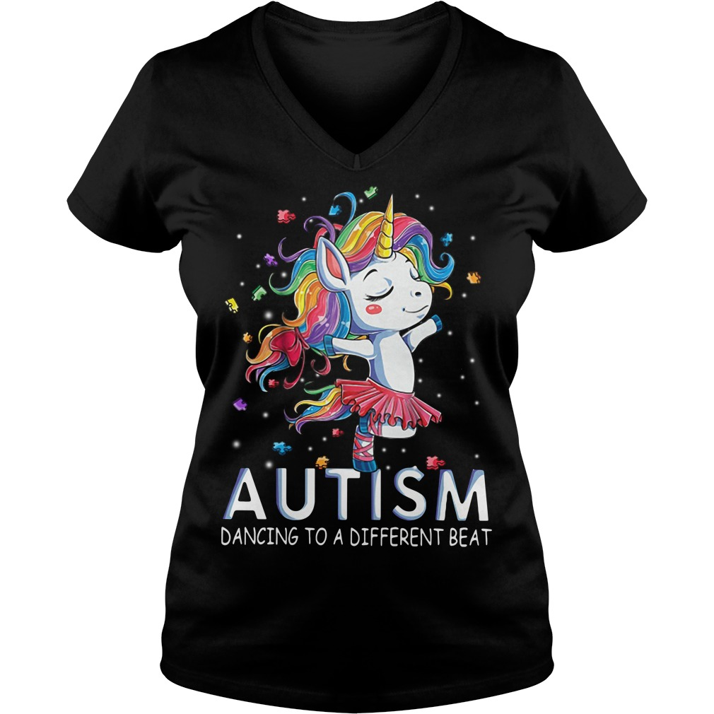 Autism Unicorn ballet dancing to a different beat V-neck T-shirt