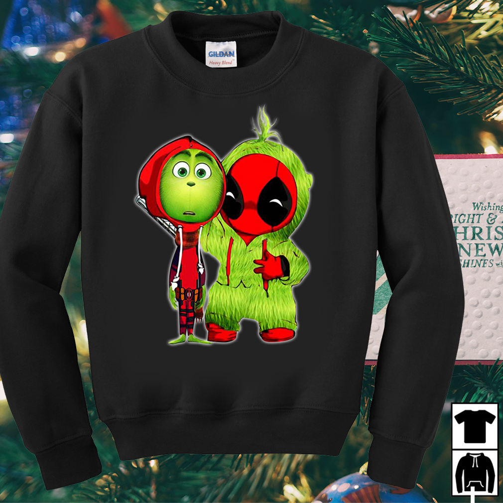 Baby Deadpool and baby Grinch Christmas funny sweater